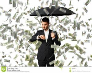 man-under-money-rain-looking-watch-serious-businessman-black-umbrella-standing-42309314