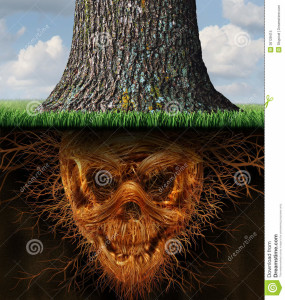 hidden-danger-risk-as-business-concept-as-growing-tree-trunk-underground-plant-roots-shaped-as-evil-human-skeleton-36128415